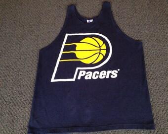 Vintage Mens NBA Basketball Indiana Pacers Champion Bro Tank Top Shirt Size L