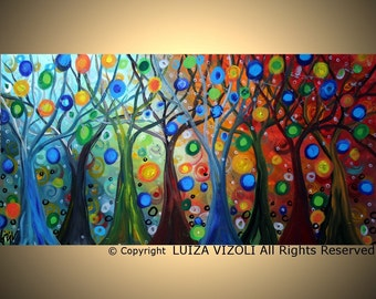 Original Modern Abstract Fantasy Landscape Large Painting TREES and SEASONS Huge Large Canvas