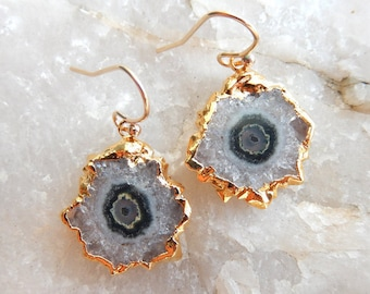 Stalactite Slice Earrings 24K Gold Dipped Electroplate Quartz Crystal Dangle Drop Free Shipping Jewelry