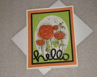 Handmade Blank Hello Flower Greeting Card for Birthdays, Get Well, Thinking of you, Graduation, Retirement, Miss You Card