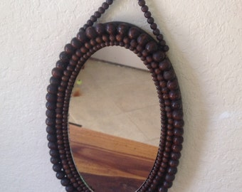 Vintage~BOHO~ Pop-Art~Wooden Beaded Mirror