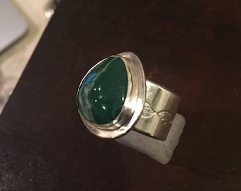 Handmade Sterling Silver and Variscite Ring - Hand Stamped - Size 7 1/2 - Ready to Ship