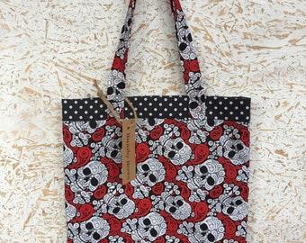 Tote Bag,Shopping Bag,Handmade Bag,Handy Bag,Handmade,Skull Bag,Skull Shopping Bag,Skull Gift