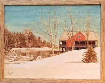 Weston Grist Mill, Vermont Winter Scene Woodburning Art
