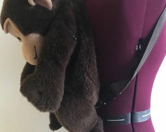 Brown Monkey Backpack Fuzzy Plush Kids Cuddly Retro Vintage 90s Club Kid Kawaii