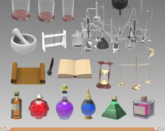 Alchemy Clipart, Potion Clip Art, Alchemist Graphic, Chemical Science Image, Transmutation PNG, Spell Scrapbook, Wizard Digital Download