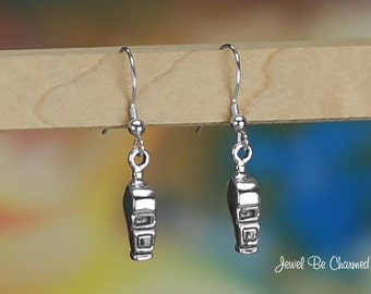 Sterling Silver Coach Game or Referee Whistle Earrings Solid .925