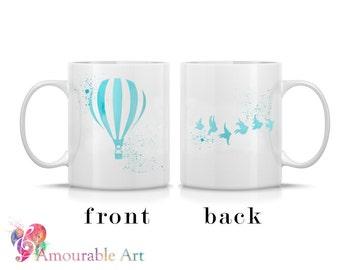 Coffee Mug, Ceramic Mug, Hot Air Balloon Mug, Unique Coffee Mug, 11oz or 15oz, Watercolor Art Print Mug, Two-Sided Print, Coffee Lover Gift