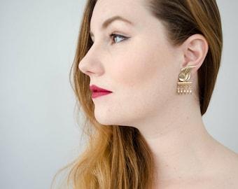 vintage Egyptian style gold wing dangle earrings   clip on earrings