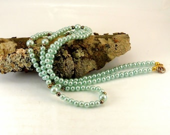 "Blue Pearl 24"" Long Necklace Baby Blue Pearl Necklace Vintage 60 Necklace Faux Pearl Necklace Blue Necklace"