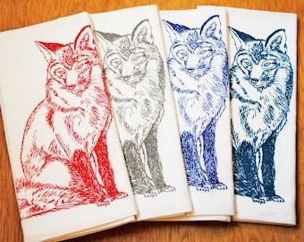 Fox Kitchen Napkins Set of 4 - Screen Printed Napkins - Reusable Washable Cotton - Red Grey Teal Blue Fox Napkins
