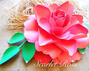 Large Paper Rose flower Templates and SVG files, DIY paper flower decor, Wedding reception Decor, Paper flower tutorial & templates