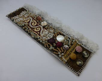 Cuff, ANTIQUE LACE , vintage buttons, beads, velvet ,cream and soft brown cuff. UK seller