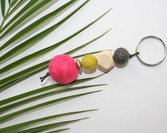 Key ring with felt balls