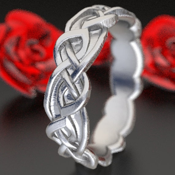 Celtic Wedding Ring With Overlapping Infinity Symbol Pattern in Sterling Silver, Made in Your Size CR-1045