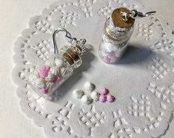 Jars of whipped cream polymer clay earrings