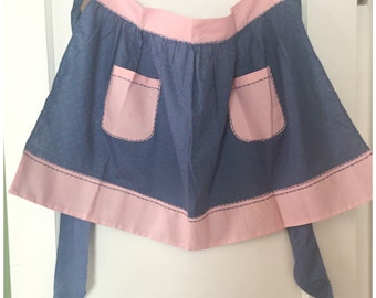 Vintage Half Apron, Pink And Blue Patterned Cotton Apron, Handmade, Vintage Half Apron with a Pockets.