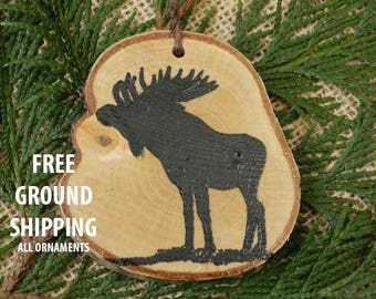 Moose ornament, Birch ornament, Christmas ornament,rustic ornament, moose painting,moose decor, birch tree ornament, wall hanging