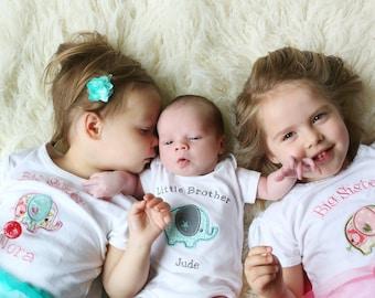 Big Sister Shirt - Big Sister Elephant Shirt - Big Sister Little Brother Set - Sister Brother Set of 3