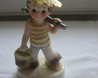 Vintage Mid Century Lefton August Fishing Boy Figurine// Collectible Lefton//Sweet Gift//August Birthday