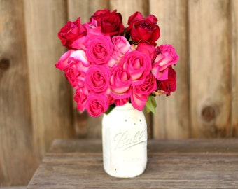 Mother's Day Gift - PAINTED MASON JAR Flower Vase / Shabby Chic Cottage Chic Rustic Chic Decor / all sizes! - Pint Quart Half Gallon Gallon