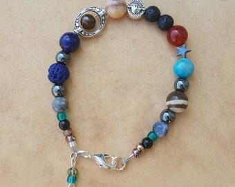 Solar System Bracelet/Planet Bracelet/Gemstone Bracelet: includes free poetry by L.L.(llmusings)-celestial jewelry