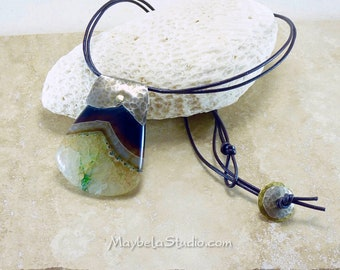 Agate Silver Leather Pendant Handmade Hammered Riveted Necklace