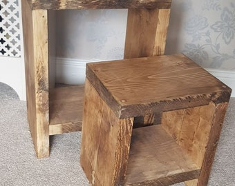 Nesting Side Tables, wooden bedside farmhouse chunky sleeper rustic blanket