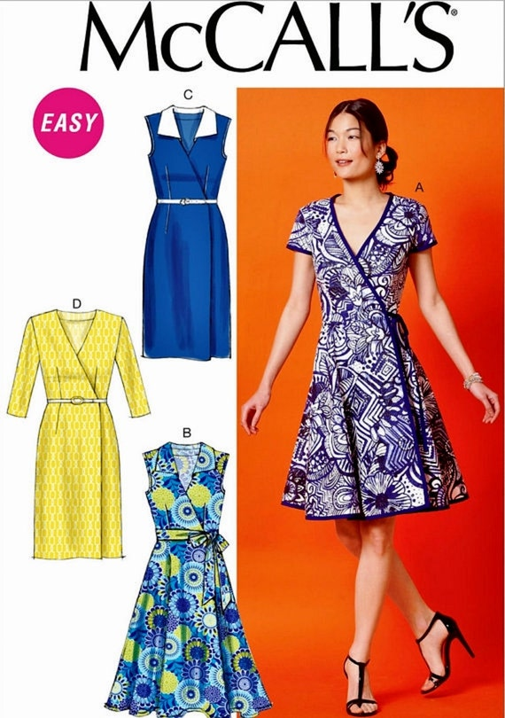 Sewing Pattern Women\'s Wrap Dress Pattern Straight Wrap