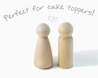 Peg doll couple - unfinished 9cm peg doll man and woman - bride & groom peg dolls wedding cake topper, unpainted wooden people, Waldorf toys