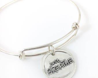 Just Breathe   Wax Seal Inspired Bangle Bracelet