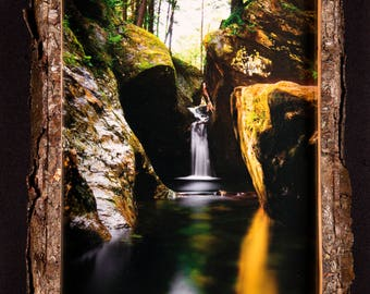 Texas Falls waterfall landscape black cherry frame