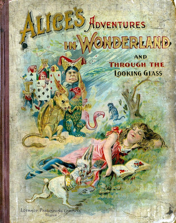 Old Book Cover Quotes : Antique victorian alice in wonderland book cover vintage