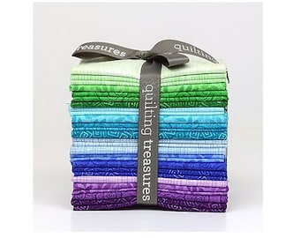 Harmony Cotton Bright Cool Fat Quarter Bundle Of 18 By Quilting Treasures
