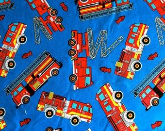 "100x110cm/39""x43"" Fire Engine Fire Truck Cotton Plain Fabric"