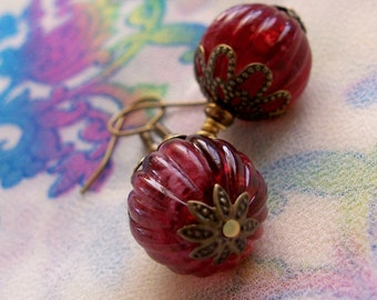 Cranberry Rose Vintage Style Dangle Earrings