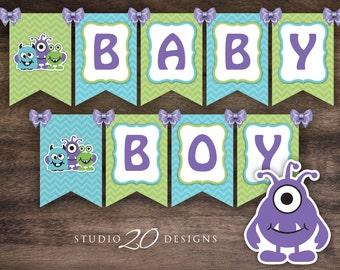 Instant Download Little Monsters Baby Shower Banner, Green Teal Purple Monster Bunting Banner, Boy Monster Baby Shower Banner 82A
