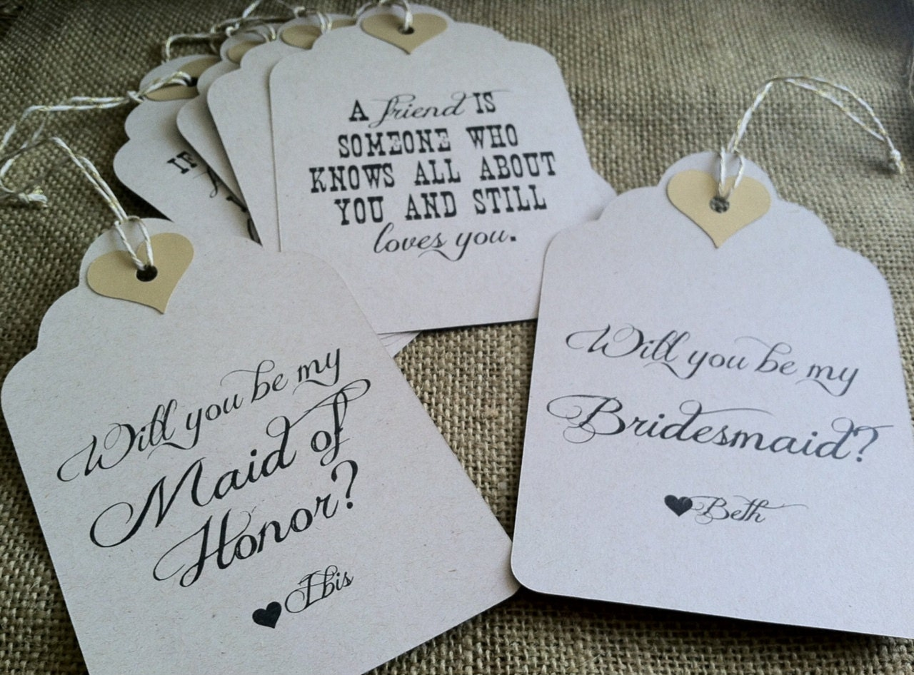 CUSTOM Wine Tags Bridesmaids Maid Matron of Honor