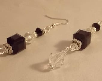 Black Cube Drop Earrings