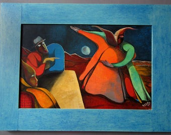 """Contemporary painting """"Dancers"""" framed and signed Massar. France.made in France"""