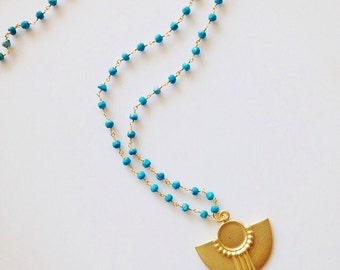 Beautiful Turquoise Rosary Chain with Tribal Pendant