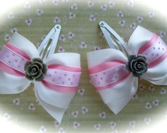 Pair of romantic small felurs and polka dots ribbon bow barrettes