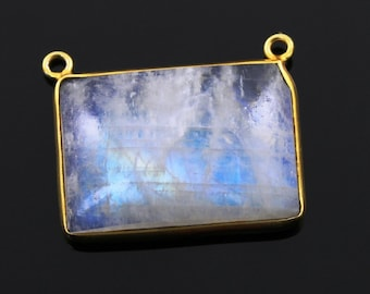 Natural Rainbow Moonstone Faceted Oval Connector, Gold Vermeil, Incredible Blue Fire, 20x25mm,1 Piece, (MN02FNCY)