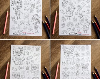 Lot of 4 sheets of stickers Collabo with Boutonne-Toi, prince, princess, dog, cat and their accessories for coloring and sticking