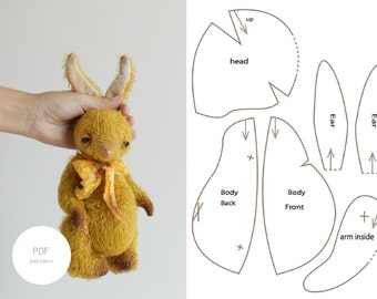 PDF Sewing Pattern & Tutorial Mohair Rabbit 9 Inches Stuffed Animal Pattern Plush Bunny Pattern Easter Bunny Pattern For Women Soft Toys
