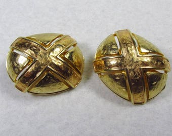 Vintage gold colored toned metal X design clip on earrings
