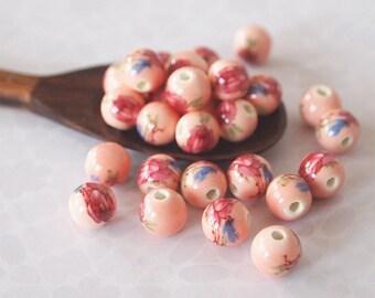 10 Ceramic Floral Beads Round Pink Crimson Size 8mm