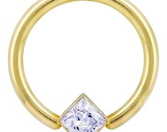 Princess CZ Corner Mount Bezel 14K Yellow Gold Captive Bead Ring