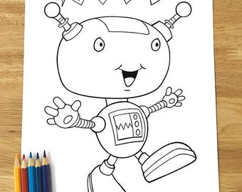 Cute Happy Robot Coloring Page! Downloadable PDF file!