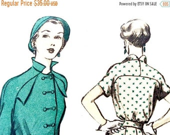 Spring Sale Factory Folded Unused Advance 5408 50s Dress, Double Front Buttons, Stand-up Collar, Flap Pockets Vintage Sewing Pattern Bust 38